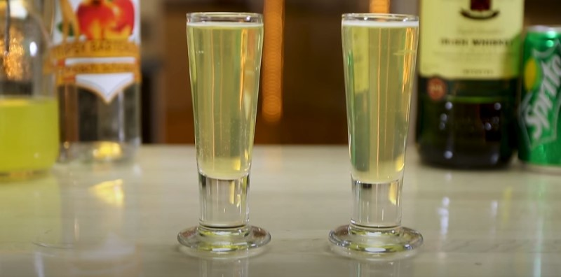 Two glases of Green Tea Shot freshly prepared